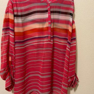 A.N.A. Sheer Pink Multi-Colored Blouse Size 3X